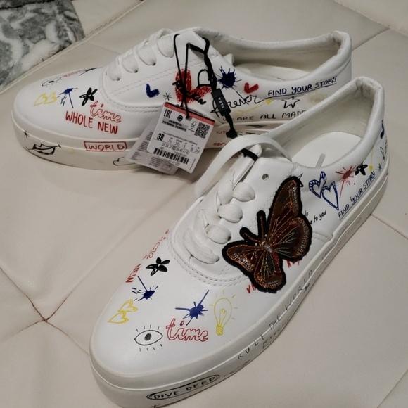 Zara Shoes   Nwt Zara Graffiti Sneakers